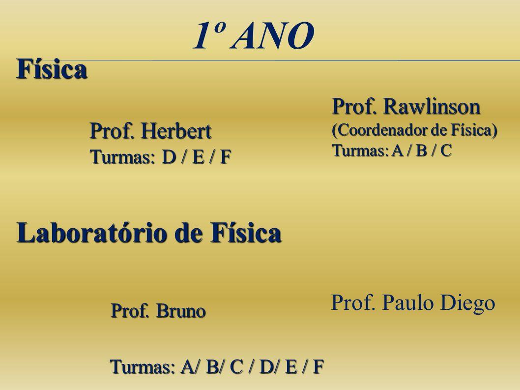 1º ANO Física Laboratório de Física Prof. Bruno Turmas: A/ B/ C / D/ E / F Prof. Herbert Turmas: D / E / F Prof. Rawlinson (Coordenador de Física) Tur