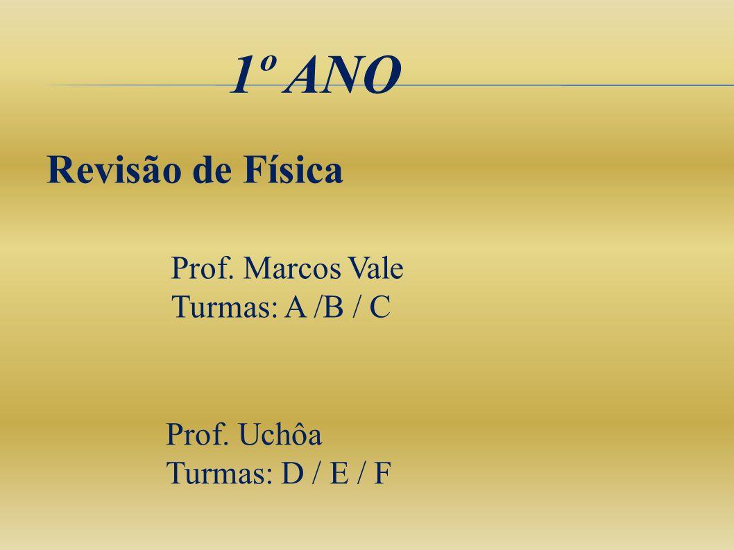 1º ANO Revisão de Física Prof. Marcos Vale Turmas: A /B / C Prof. Uchôa Turmas: D / E / F