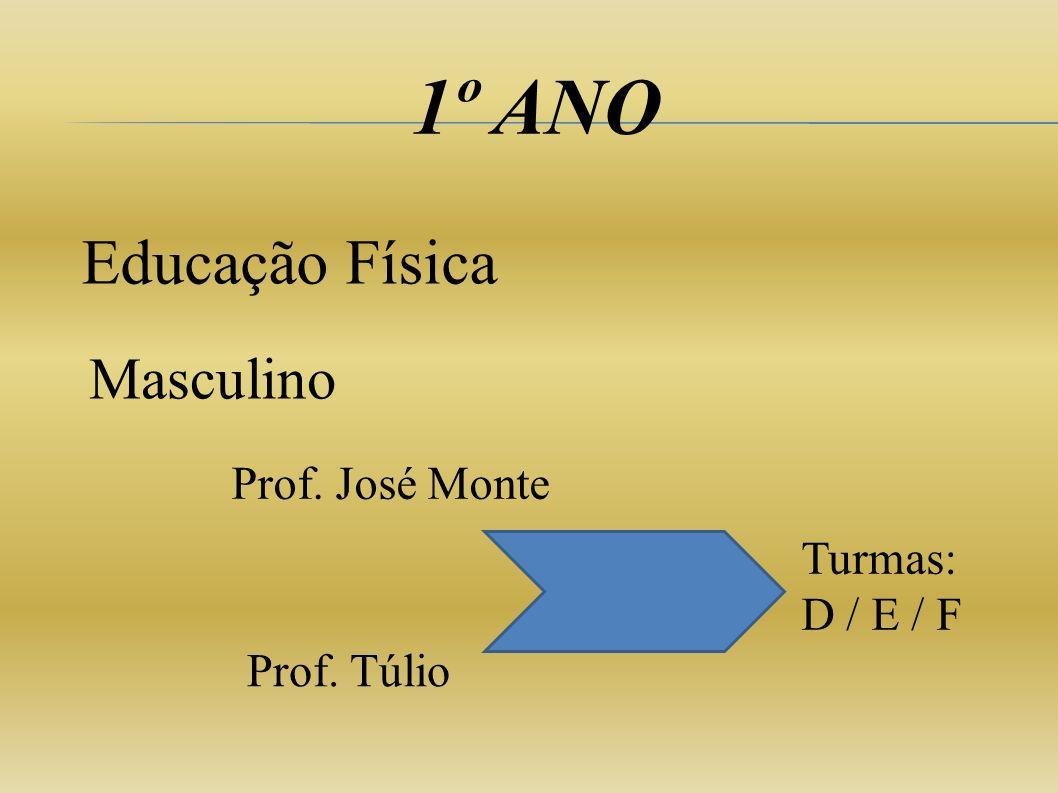 1º ANO Educação Física Masculino Prof. José Monte Prof. Túlio Turmas: D / E / F