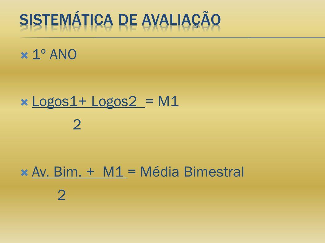 1º ANO Logos1+ Logos2 = M1 2 Av. Bim. + M1 = Média Bimestral 2