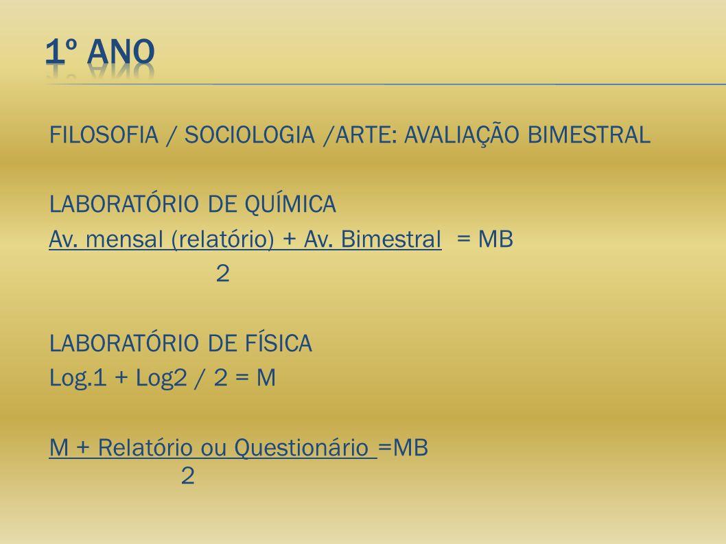 FILOSOFIA / SOCIOLOGIA /ARTE: AVALIAÇÃO BIMESTRAL LABORATÓRIO DE QUÍMICA Av. mensal (relatório) + Av. Bimestral = MB 2 LABORATÓRIO DE FÍSICA Log.1 + L