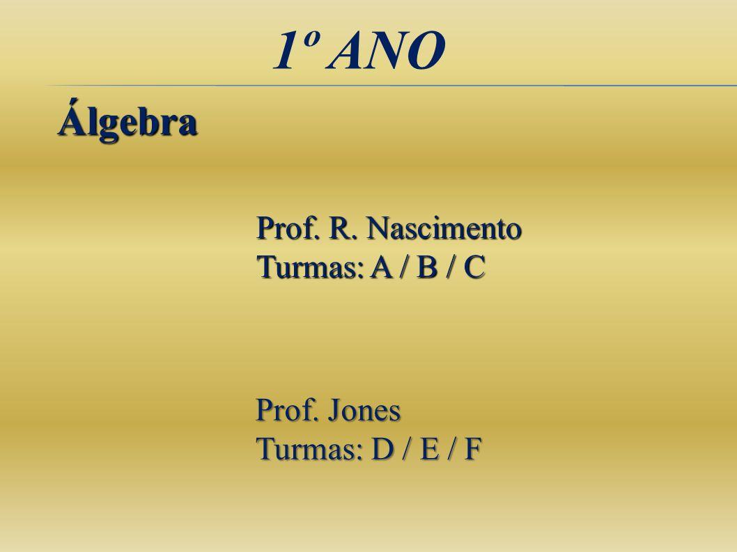 1º ANO Álgebra Prof. R. Nascimento Turmas: A / B / C Prof. Jones Turmas: D / E / F
