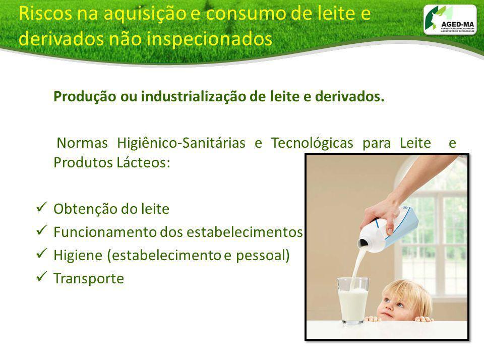 Riscos na aquisição e consumo de leite e derivados não inspecionados Produção ou industrialização de leite e derivados. Normas Higiênico-Sanitárias e