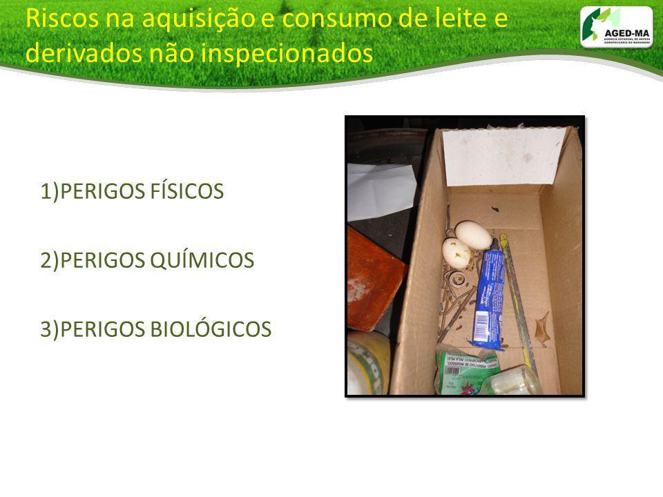 Riscos na aquisição e consumo de leite e derivados não inspecionados 1)PERIGOS FÍSICOS 2)PERIGOS QUÍMICOS 3)PERIGOS BIOLÓGICOS