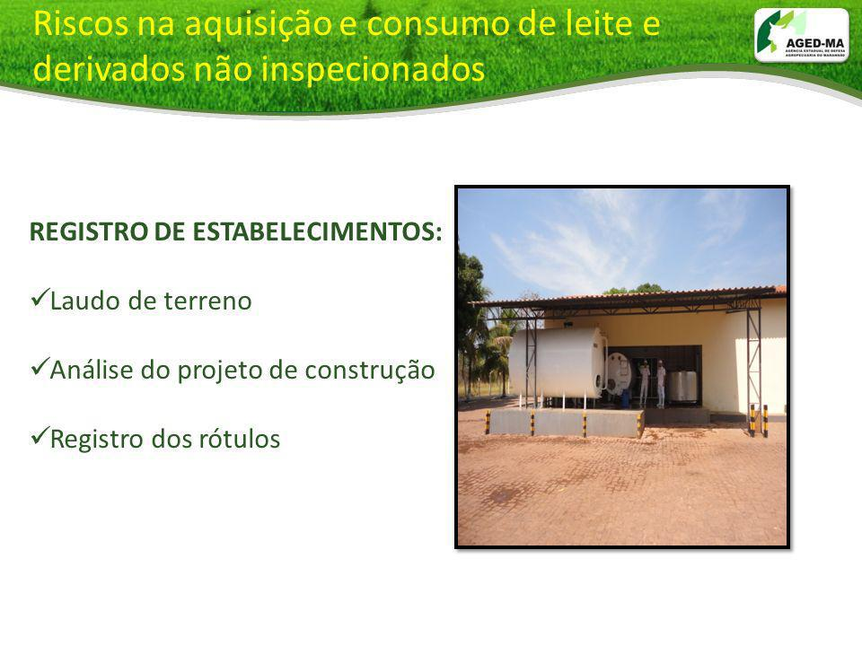 Riscos na aquisição e consumo de leite e derivados não inspecionados REGISTRO DE ESTABELECIMENTOS: Laudo de terreno Análise do projeto de construção R