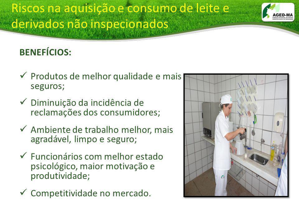 Riscos na aquisição e consumo de leite e derivados não inspecionados BENEFÍCIOS: Produtos de melhor qualidade e mais seguros; Diminuição da incidência