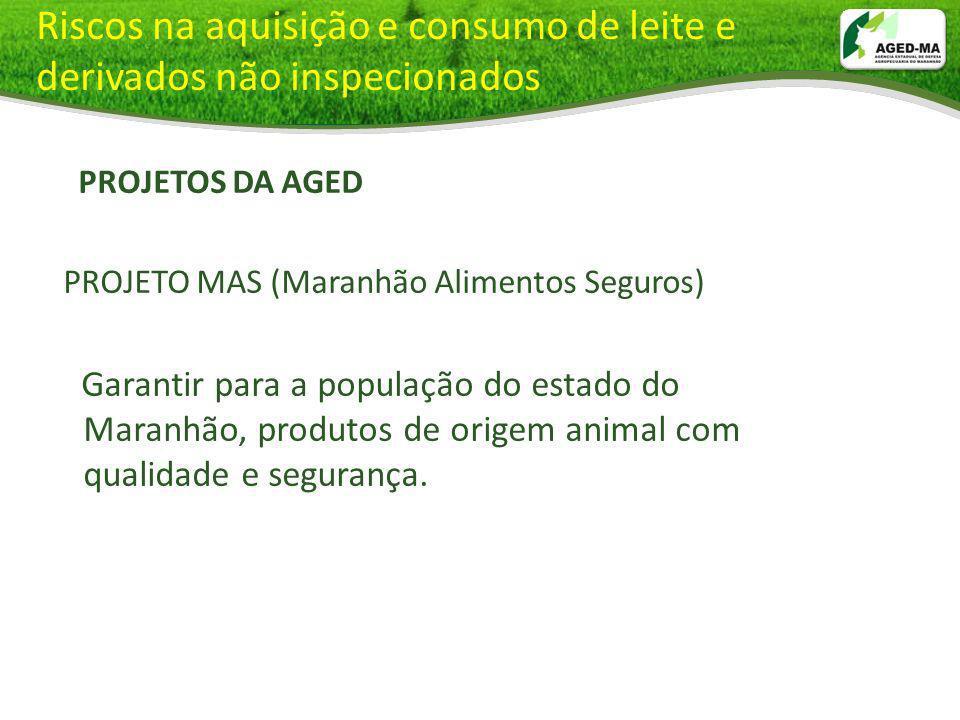 Riscos na aquisição e consumo de leite e derivados não inspecionados PROJETOS DA AGED PROJETO MAS (Maranhão Alimentos Seguros) Garantir para a populaç