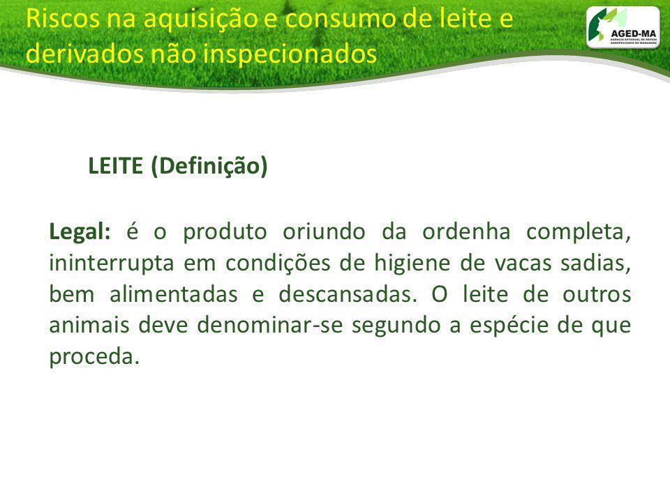 Riscos na aquisição e consumo de leite e derivados não inspecionados LEITE (Definição) LEITE (Definição) Legal: Legal: é o produto oriundo da ordenha