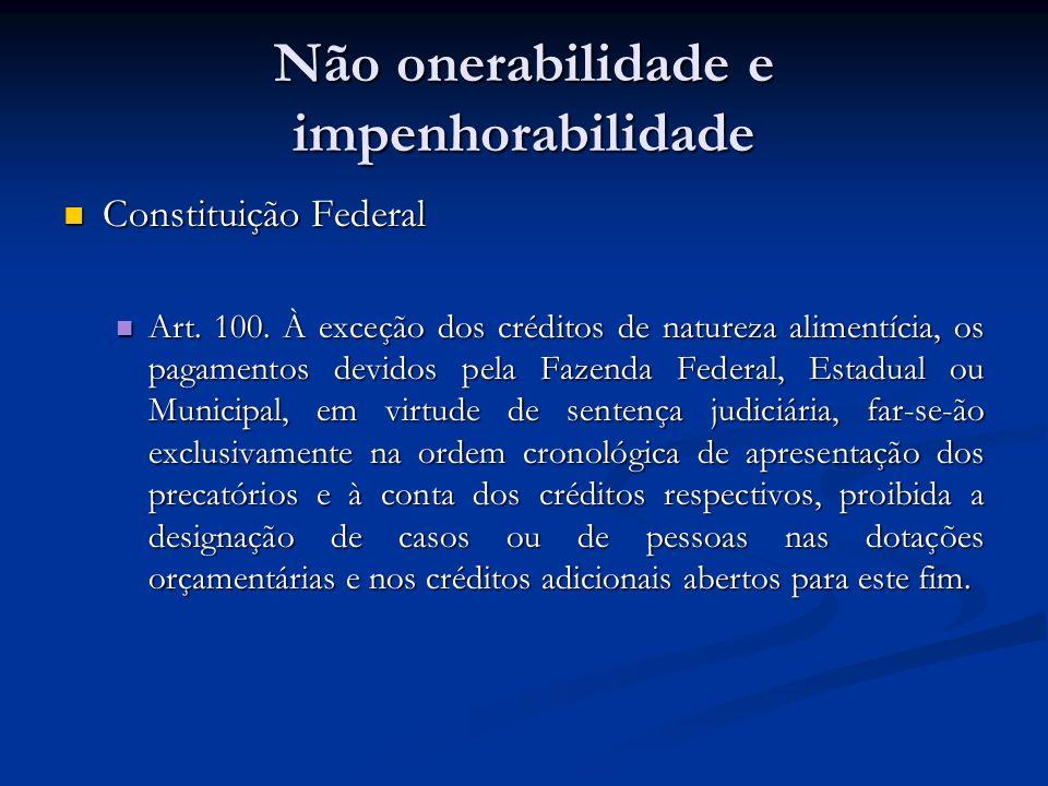 Não onerabilidade e impenhorabilidade Constituição Federal Constituição Federal Art. 100. À exceção dos créditos de natureza alimentícia, os pagamento