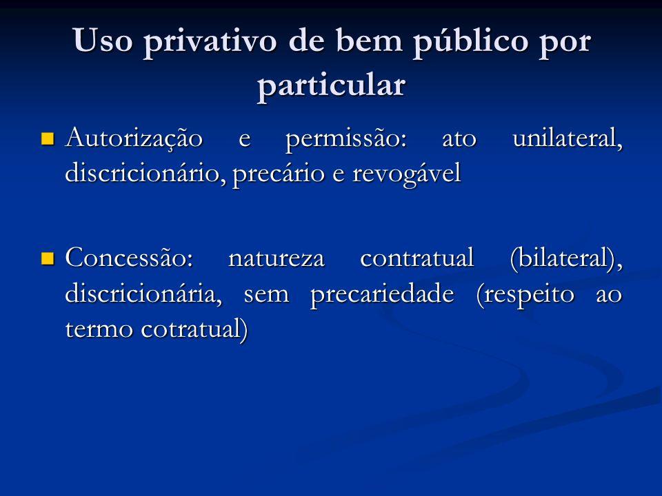 Uso privativo de bem público por particular Autorização e permissão: ato unilateral, discricionário, precário e revogável Autorização e permissão: ato