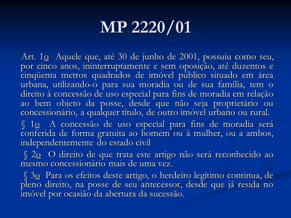MP 2220/01 Art. 1o Aquele que, até 30 de junho de 2001, possuiu como seu, por cinco anos, ininterruptamente e sem oposição, até duzentos e cinqüenta m