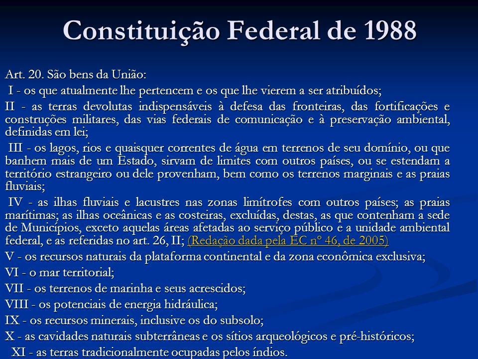 Constituição Federal de 1988 Art. 20. São bens da União: I - os que atualmente lhe pertencem e os que lhe vierem a ser atribuídos; I - os que atualmen