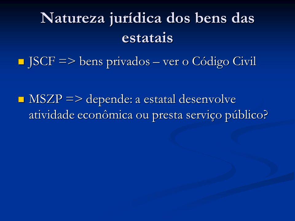 Natureza jurídica dos bens das estatais JSCF => bens privados – ver o Código Civil JSCF => bens privados – ver o Código Civil MSZP => depende: a estat