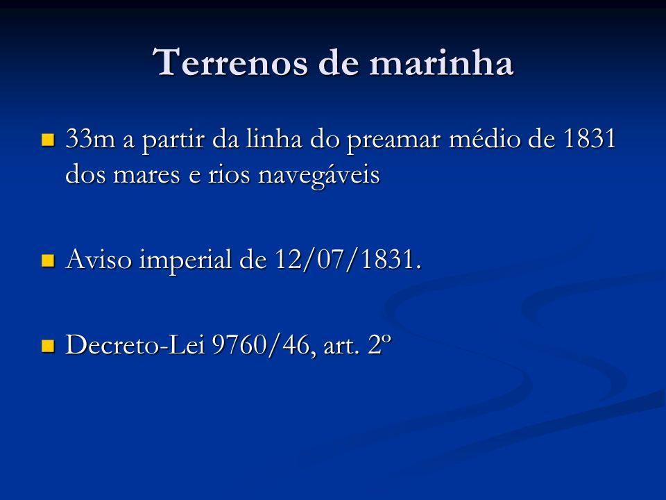 Terrenos de marinha 33m a partir da linha do preamar médio de 1831 dos mares e rios navegáveis 33m a partir da linha do preamar médio de 1831 dos mare