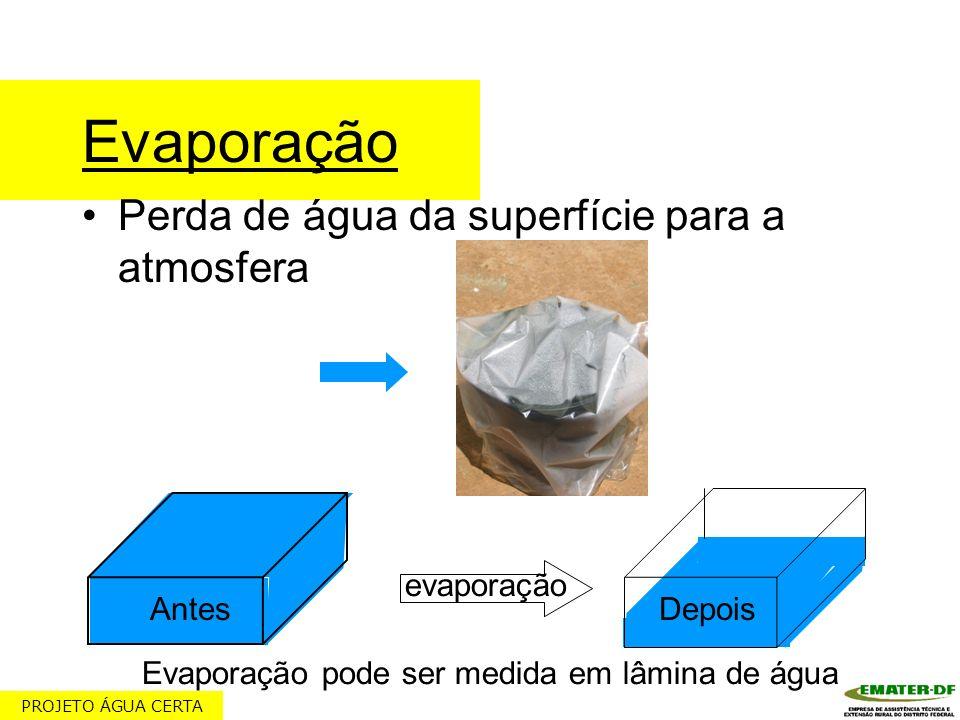 Evaporação Perda de água da superfície para a atmosfera evaporação Evaporação pode ser medida em lâmina de água AntesDepois PROJETO ÁGUA CERTA