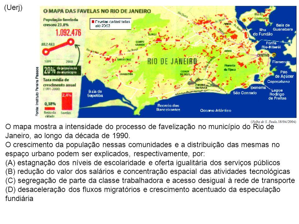 (Uerj) O mapa mostra a intensidade do processo de favelização no município do Rio de Janeiro, ao longo da década de 1990. O crescimento da população n
