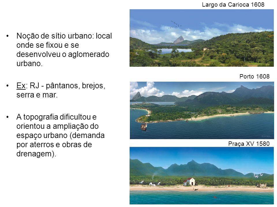 Noção de sítio urbano: local onde se fixou e se desenvolveu o aglomerado urbano. Ex: RJ - pântanos, brejos, serra e mar. A topografia dificultou e ori