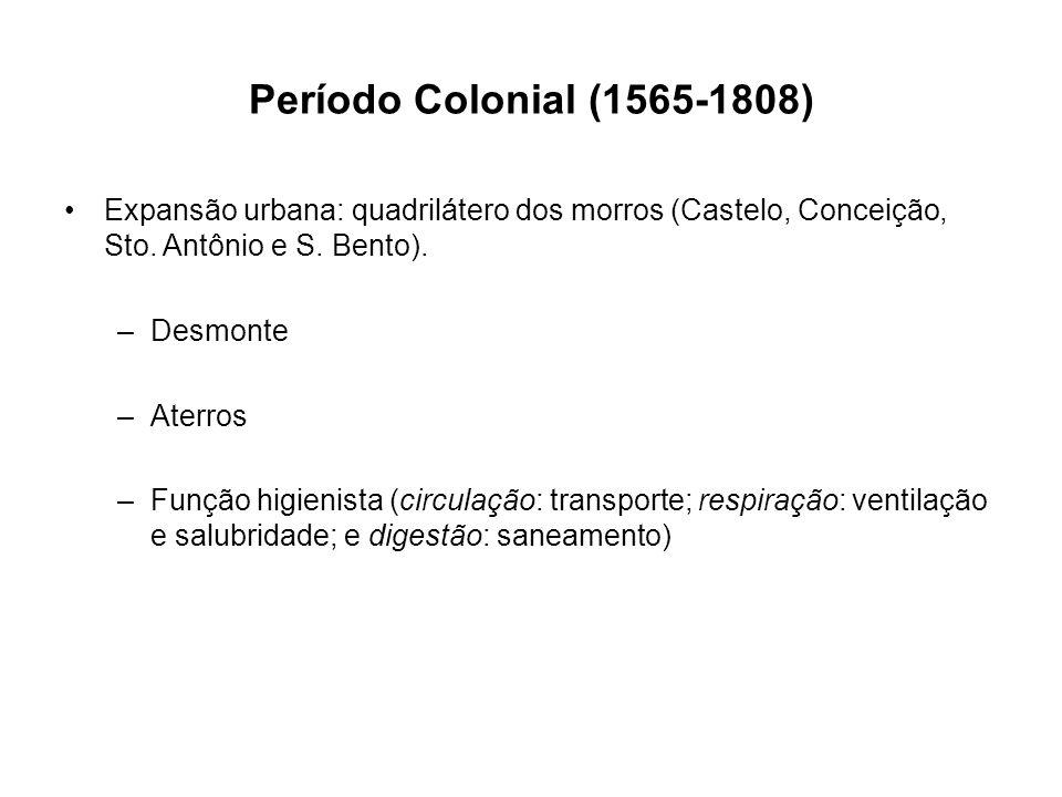 Período Colonial (1565-1808) Expansão urbana: quadrilátero dos morros (Castelo, Conceição, Sto. Antônio e S. Bento). –Desmonte –Aterros –Função higien