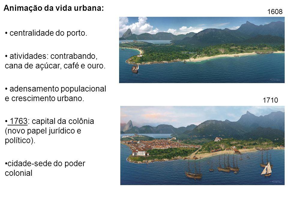 Animação da vida urbana: centralidade do porto. atividades: contrabando, cana de açúcar, café e ouro. adensamento populacional e crescimento urbano. 1