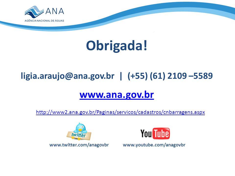www.youtube.com/anagovbrwww.twitter.com/anagovbr Obrigada! ligia.araujo@ana.gov.br | (+55) (61) 2109 –5589 www.ana.gov.br http://www2.ana.gov.br/Pagin