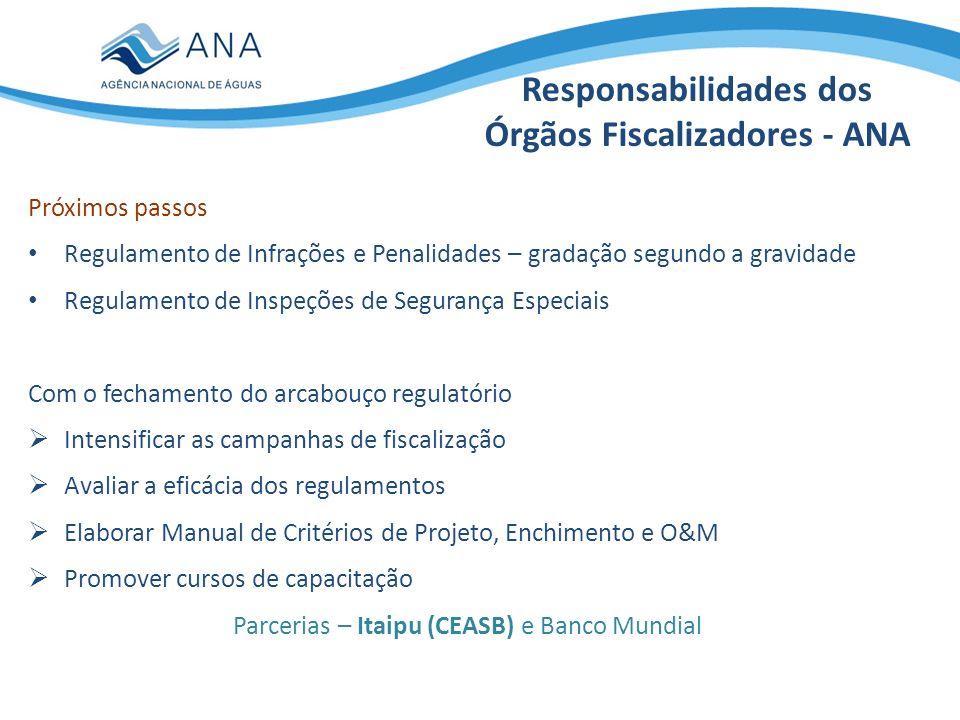 Responsabilidades da ANA na implementação da Política Nacional de Segurança de Barragens Todas as dos demais órgãos fiscalizadores E ainda: promover a articulação entre os órgãos fiscalizadores de barragens - reuniões com órgãos federais e estaduais (NE e SE) coordenar a elaboração do Relatório de Segurança de Barragens e encaminhá-lo, anualmente, ao Conselho Nacional de Recursos Hídricos (CNRH), de forma consolidada (2011 em julho de 2012) organizar, implantar e gerir o Sistema Nacional de Informações sobre Segurança de Barragens (SNISB) Co- responsabilidades com os demais órgãos fiscalizadores