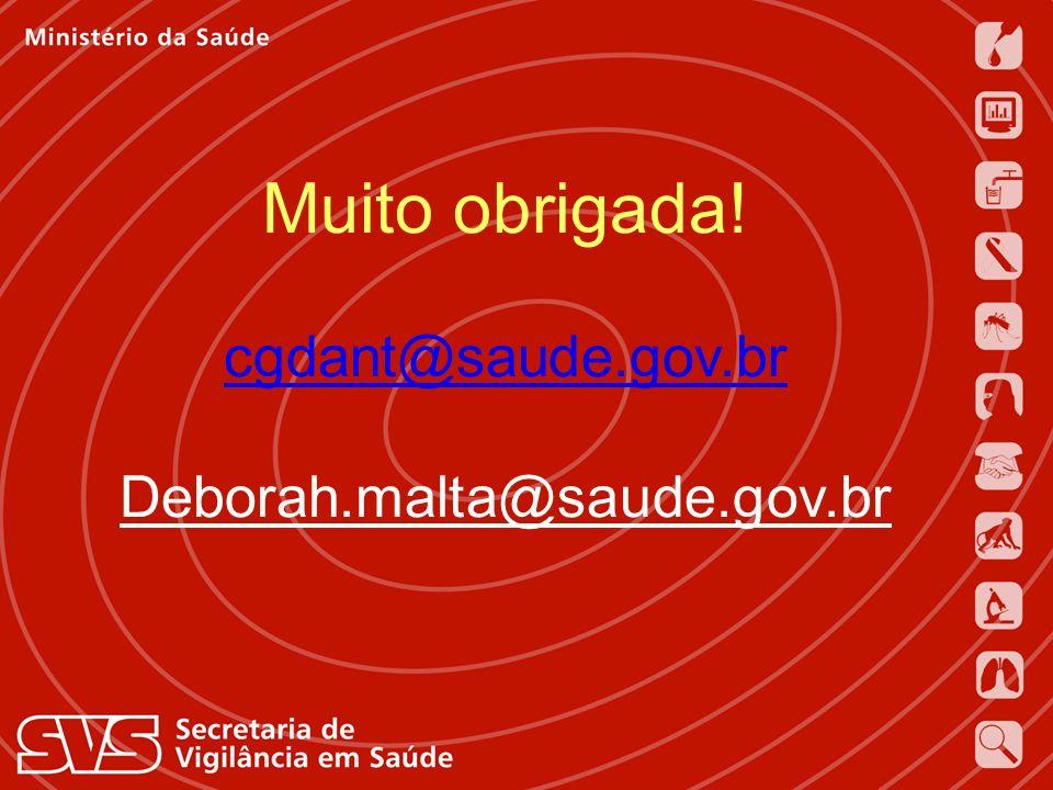 Muito obrigada! cgdant@saude.gov.br Deborah.malta@saude.gov.br