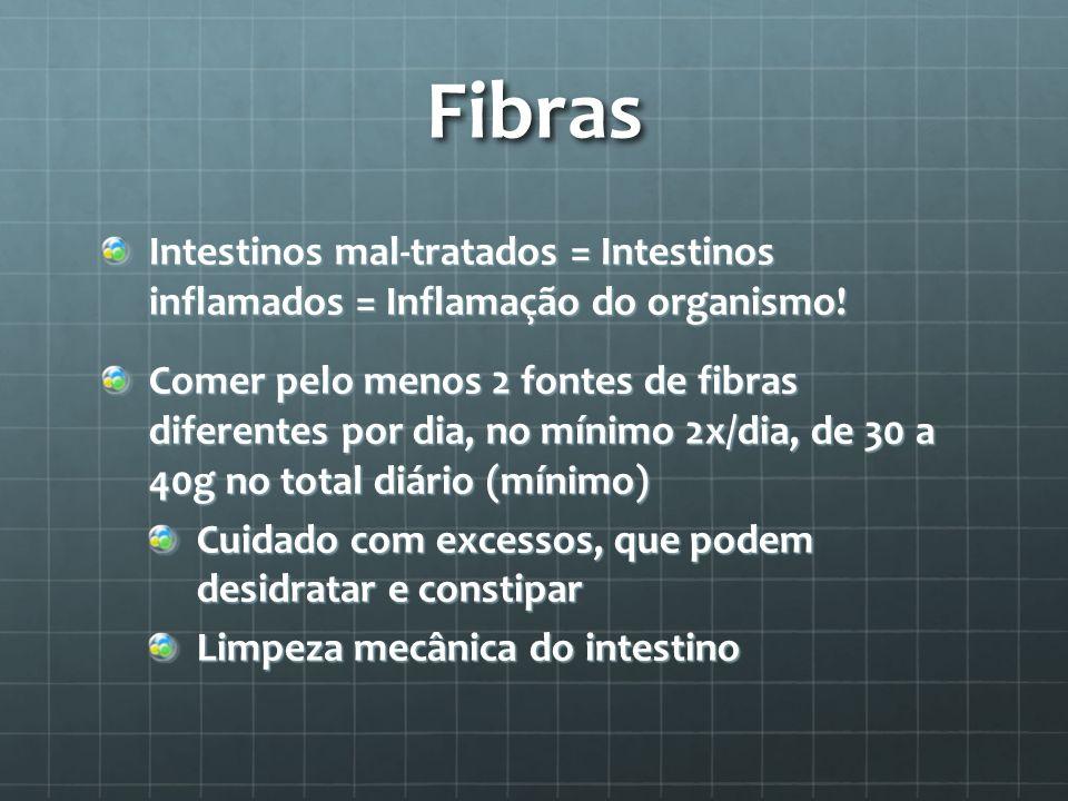 Fibras Intestinos mal-tratados = Intestinos inflamados = Inflamação do organismo! Comer pelo menos 2 fontes de fibras diferentes por dia, no mínimo 2x
