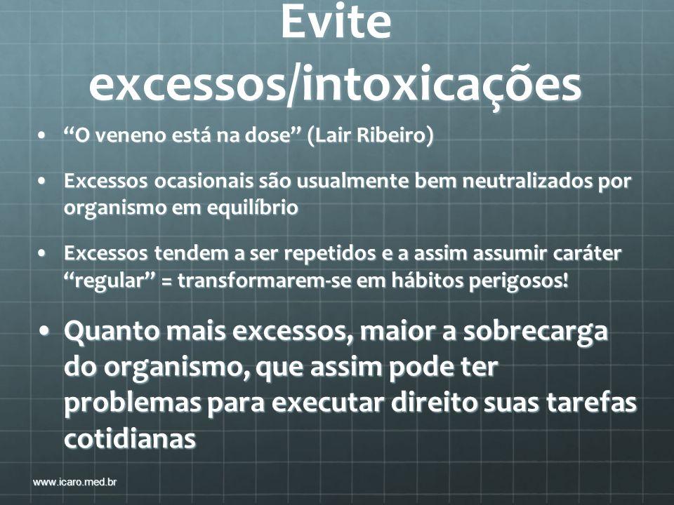Evite excessos/intoxicações O veneno está na dose (Lair Ribeiro)O veneno está na dose (Lair Ribeiro) Excessos ocasionais são usualmente bem neutraliza