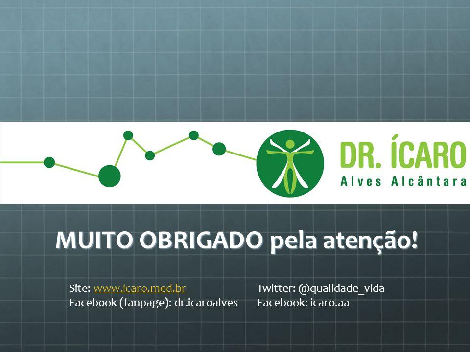 MUITO OBRIGADO pela atenção! Site: www.icaro.med.br Twitter: @qualidade_vidawww.icaro.med.br Facebook (fanpage): dr.icaroalves Facebook: icaro.aa