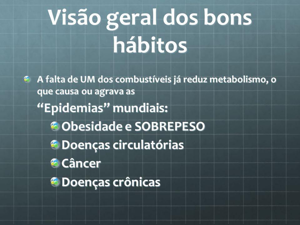 Visão geral dos bons hábitos A falta de UM dos combustíveis já reduz metabolismo, o que causa ou agrava as Epidemias mundiais: Obesidade e SOBREPESO D