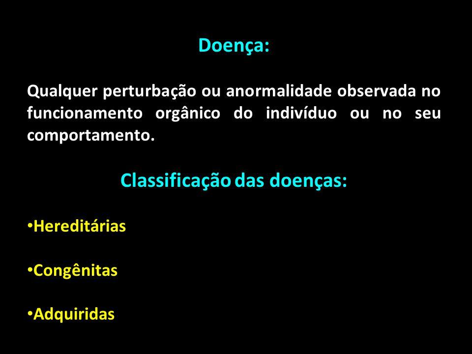 Doença: Qualquer perturbação ou anormalidade observada no funcionamento orgânico do indivíduo ou no seu comportamento. Classificação das doenças: Here