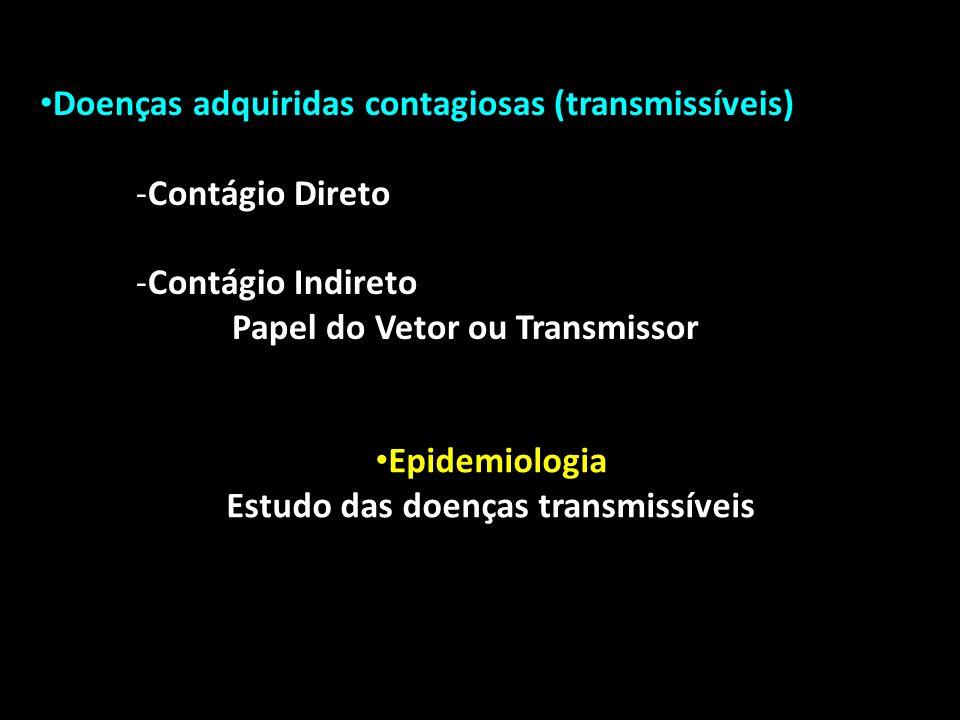 Epidemiologia Estudo das doenças transmissíveis Doenças adquiridas contagiosas (transmissíveis) -Contágio Direto -Contágio Indireto Papel do Vetor ou