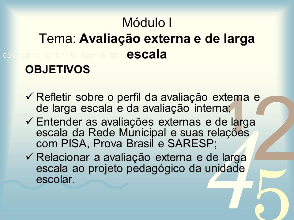 Módulo I Tema: Avaliação externa e de larga escala OBJETIVOS Refletir sobre o perfil da avaliação externa e de larga escala e da avaliação interna; En