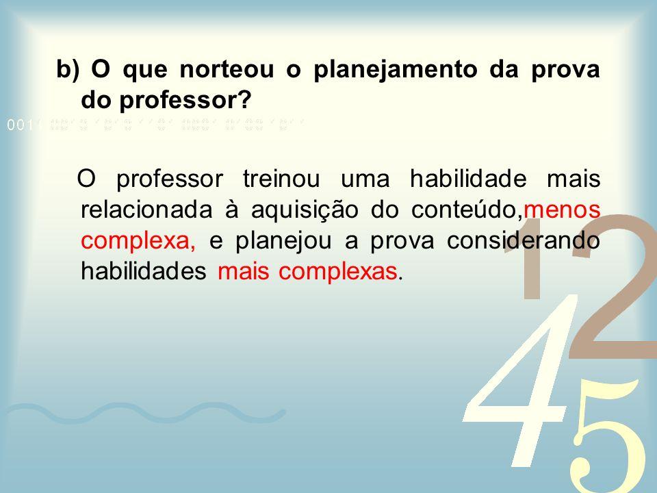 b) O que norteou o planejamento da prova do professor? O professor treinou uma habilidade mais relacionada à aquisição do conteúdo,menos complexa, e p