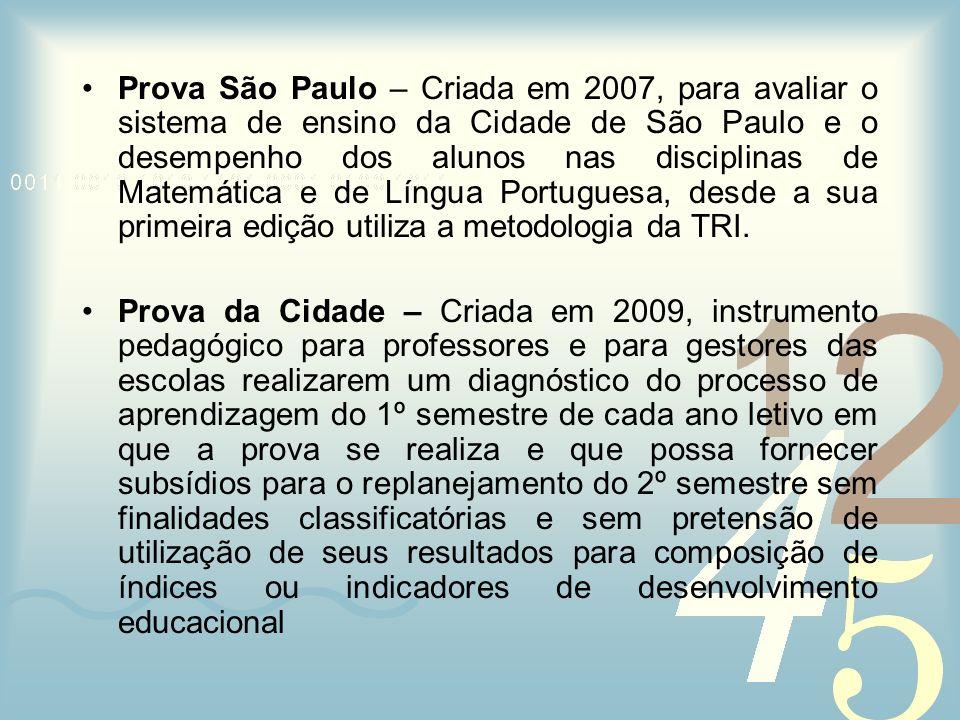 Prova São Paulo – Criada em 2007, para avaliar o sistema de ensino da Cidade de São Paulo e o desempenho dos alunos nas disciplinas de Matemática e de