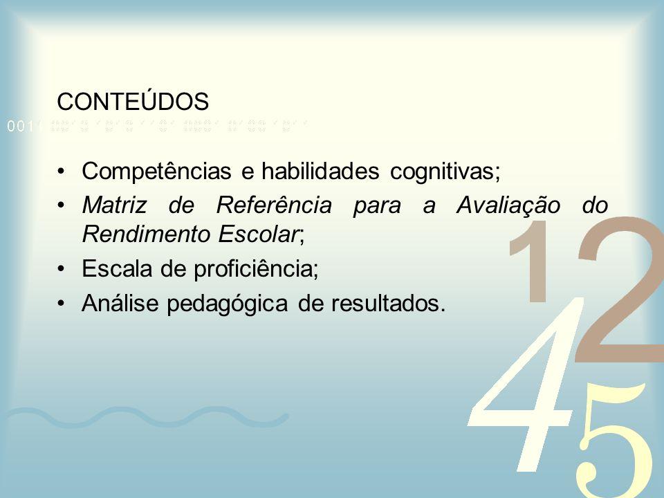 CONTEÚDOS Competências e habilidades cognitivas; Matriz de Referência para a Avaliação do Rendimento Escolar; Escala de proficiência; Análise pedagógi
