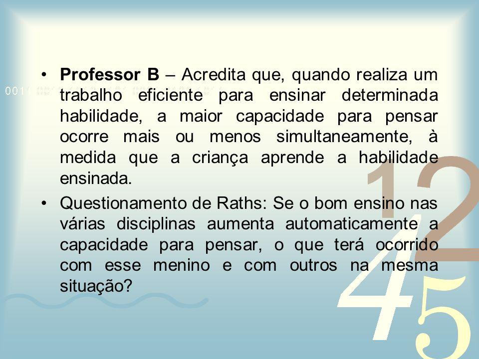 Professor B – Acredita que, quando realiza um trabalho eficiente para ensinar determinada habilidade, a maior capacidade para pensar ocorre mais ou me
