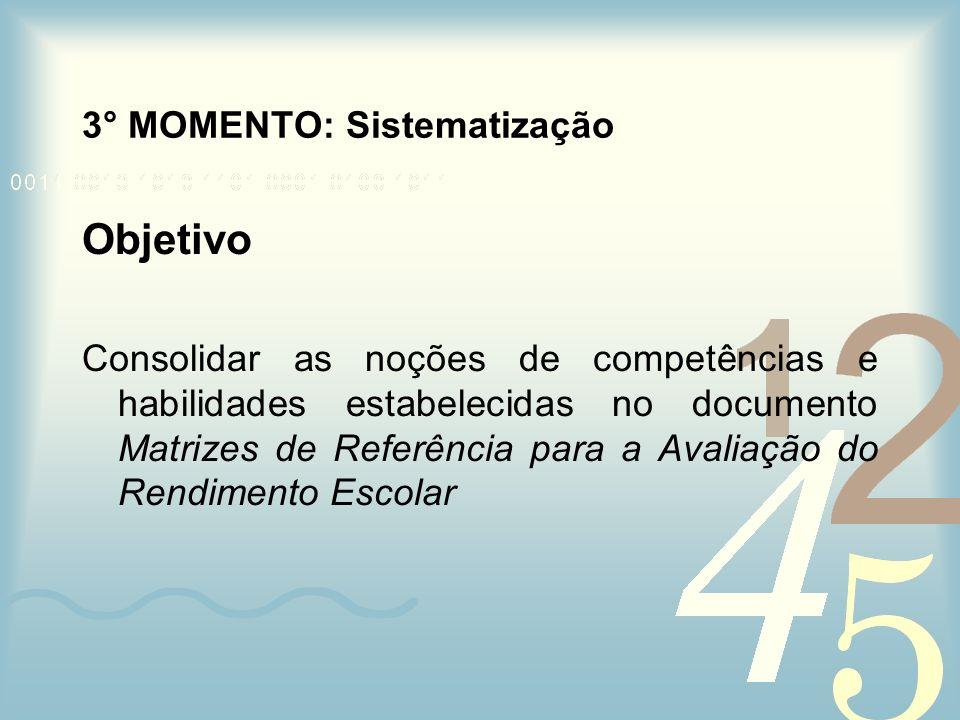 3° MOMENTO: Sistematização Objetivo Consolidar as noções de competências e habilidades estabelecidas no documento Matrizes de Referência para a Avalia