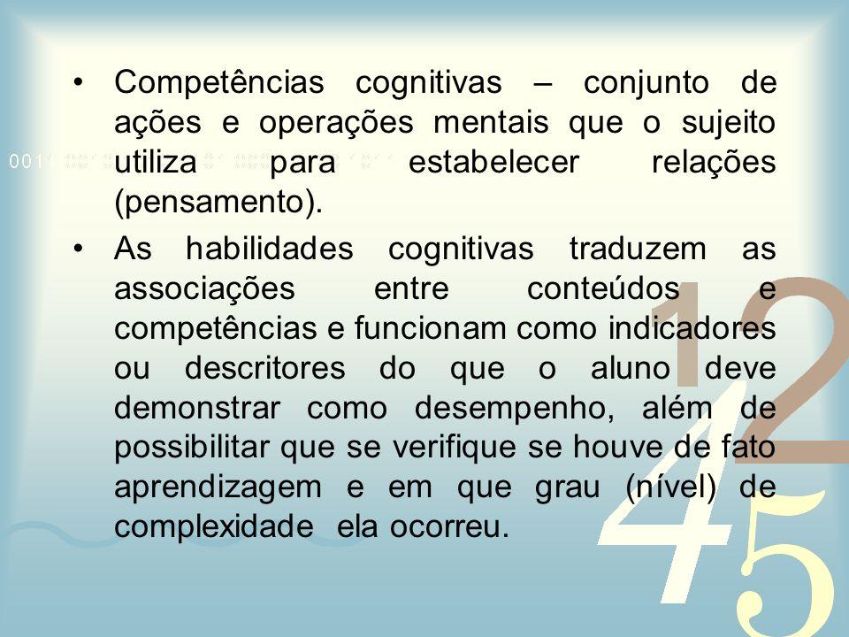 Competências cognitivas – conjunto de ações e operações mentais que o sujeito utiliza para estabelecer relações (pensamento). As habilidades cognitiva
