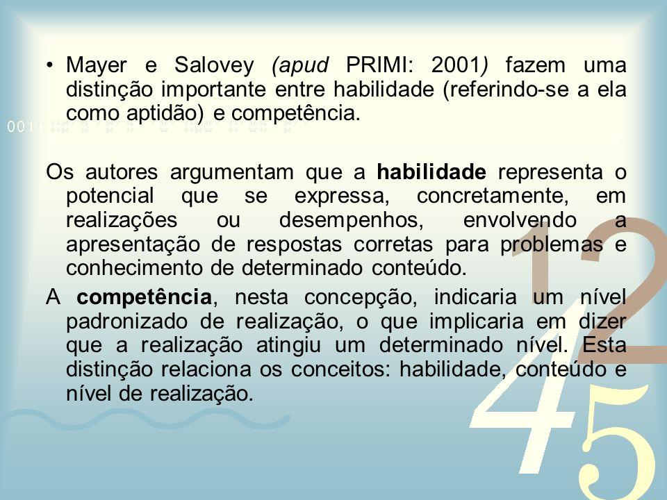 Mayer e Salovey (apud PRIMI: 2001) fazem uma distinção importante entre habilidade (referindo-se a ela como aptidão) e competência. Os autores argumen