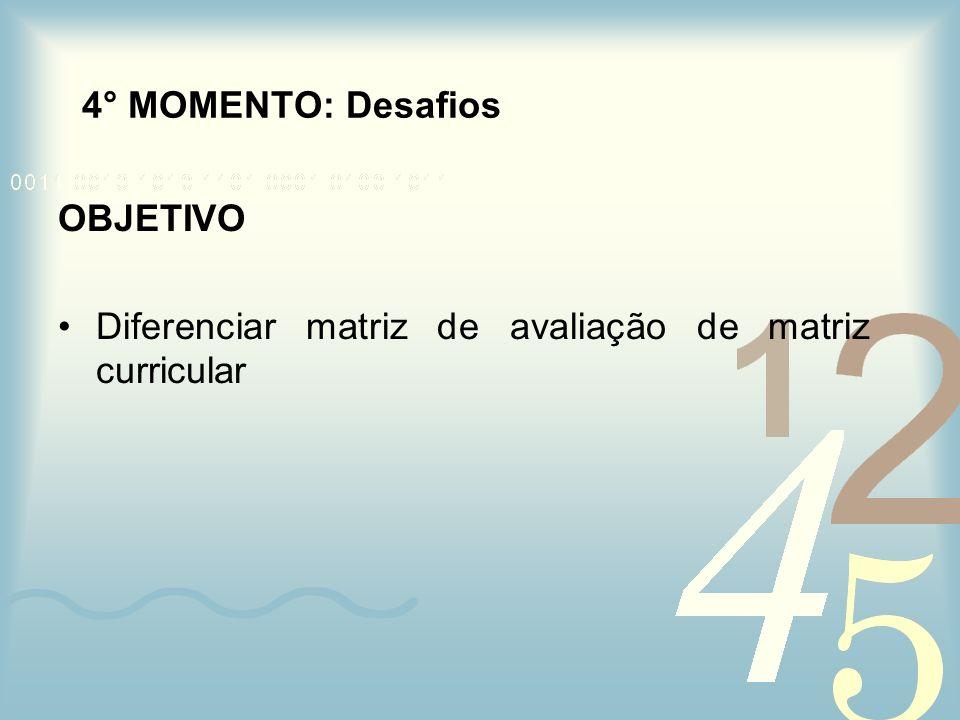 4° MOMENTO: Desafios OBJETIVO Diferenciar matriz de avaliação de matriz curricular