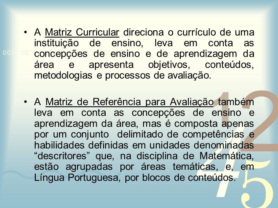 A Matriz Curricular direciona o currículo de uma instituição de ensino, leva em conta as concepções de ensino e de aprendizagem da área e apresenta ob