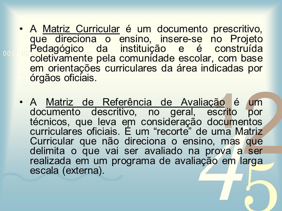 A Matriz Curricular é um documento prescritivo, que direciona o ensino, insere-se no Projeto Pedagógico da instituição e é construída coletivamente pe