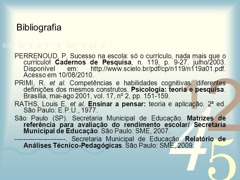 Bibliografia PERRENOUD, P. Sucesso na escola: só o currículo, nada mais que o currículo! Cadernos de Pesquisa, n. 119, p. 9-27. julho/2003. Disponível