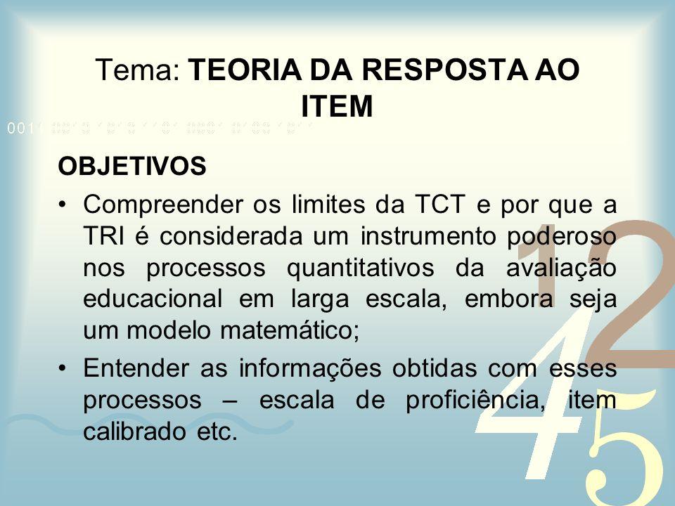 Tema: TEORIA DA RESPOSTA AO ITEM OBJETIVOS Compreender os limites da TCT e por que a TRI é considerada um instrumento poderoso nos processos quantitat