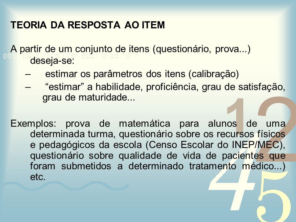 TEORIA DA RESPOSTA AO ITEM A partir de um conjunto de itens (questionário, prova...) deseja-se: – estimar os parâmetros dos itens (calibração) – estim