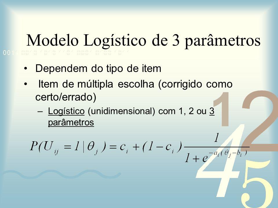 Dependem do tipo de item Item de múltipla escolha (corrigido como certo/errado) –Logístico (unidimensional) com 1, 2 ou 3 parâmetros Modelo Logístico