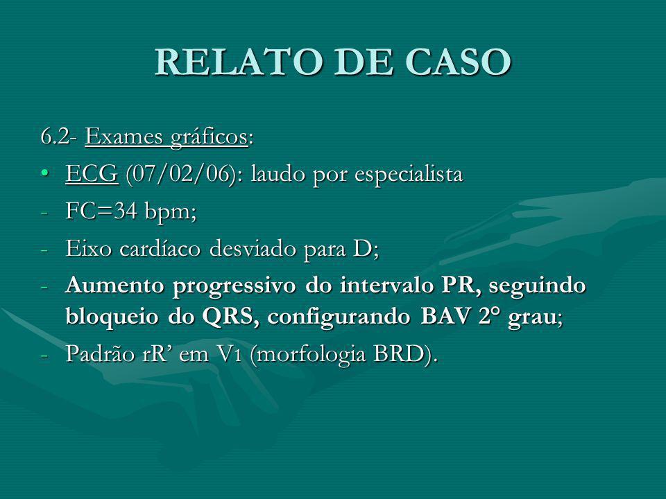 RELATO DE CASO 6.2- Exames gráficos: ECG (07/02/06): laudo por especialistaECG (07/02/06): laudo por especialista -FC=34 bpm; -Eixo cardíaco desviado