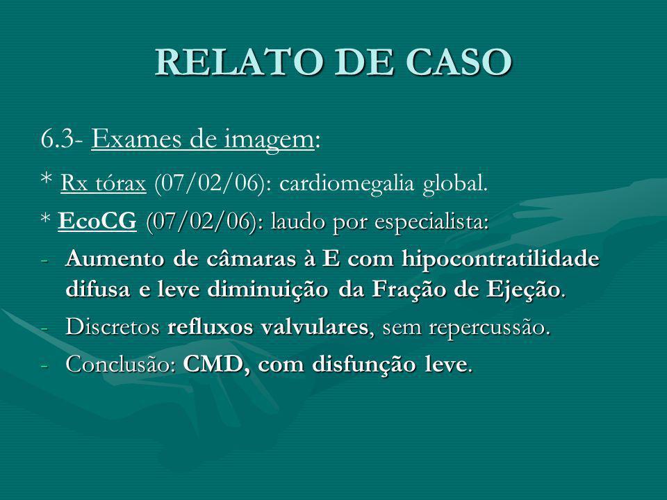 RELATO DE CASO 6.3- Exames de imagem: * Rx tórax (07/02/06): cardiomegalia global. (07/02/06): laudo por especialista: * EcoCG (07/02/06): laudo por e
