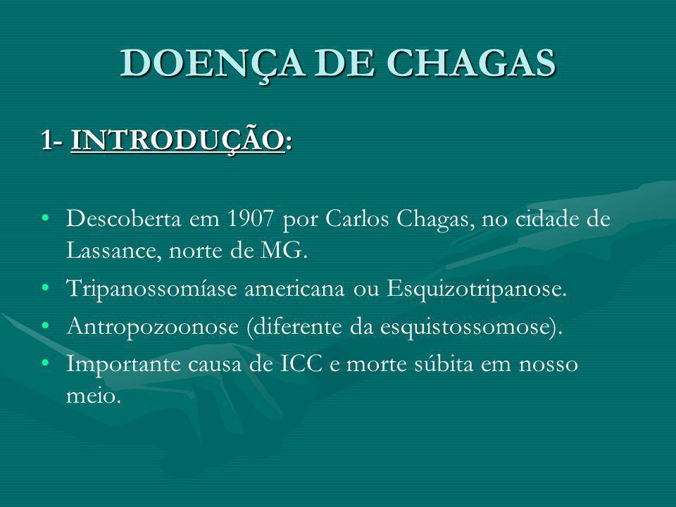 1- INTRODUÇÃO: Descoberta em 1907 por Carlos Chagas, no cidade de Lassance, norte de MG. Tripanossomíase americana ou Esquizotripanose. Antropozoonose